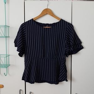 Navy striped frill peplum top
